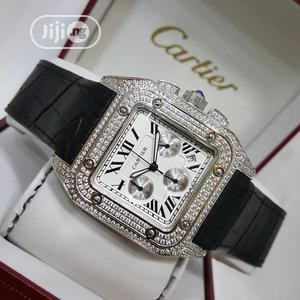 Cartier Chronograph Full Ice Silver Leather Strap Watch   Watches for sale in Lagos State, Lagos Island (Eko)