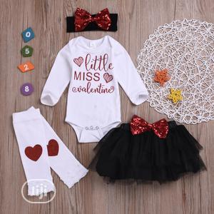 Baby Girl Valentine 4pc Bodysuit Skirt Set.   Children's Clothing for sale in Lagos State, Surulere