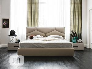 Modern Upholstered Bedframe 6 by 6 With Side Drawer | Furniture for sale in Lagos State, Ikeja