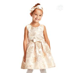 Girls Metallic Floral Jacquard Pleated Dress   Children's Clothing for sale in Lagos State, Surulere