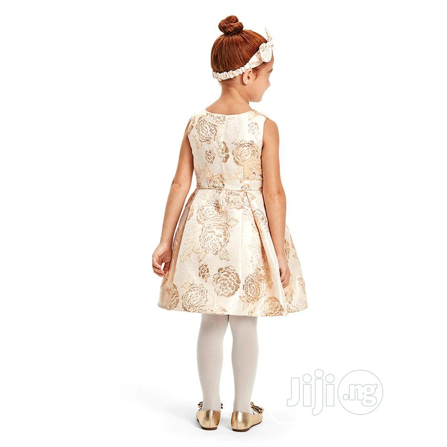 Girls Metallic Floral Jacquard Pleated Dress   Children's Clothing for sale in Surulere, Lagos State, Nigeria