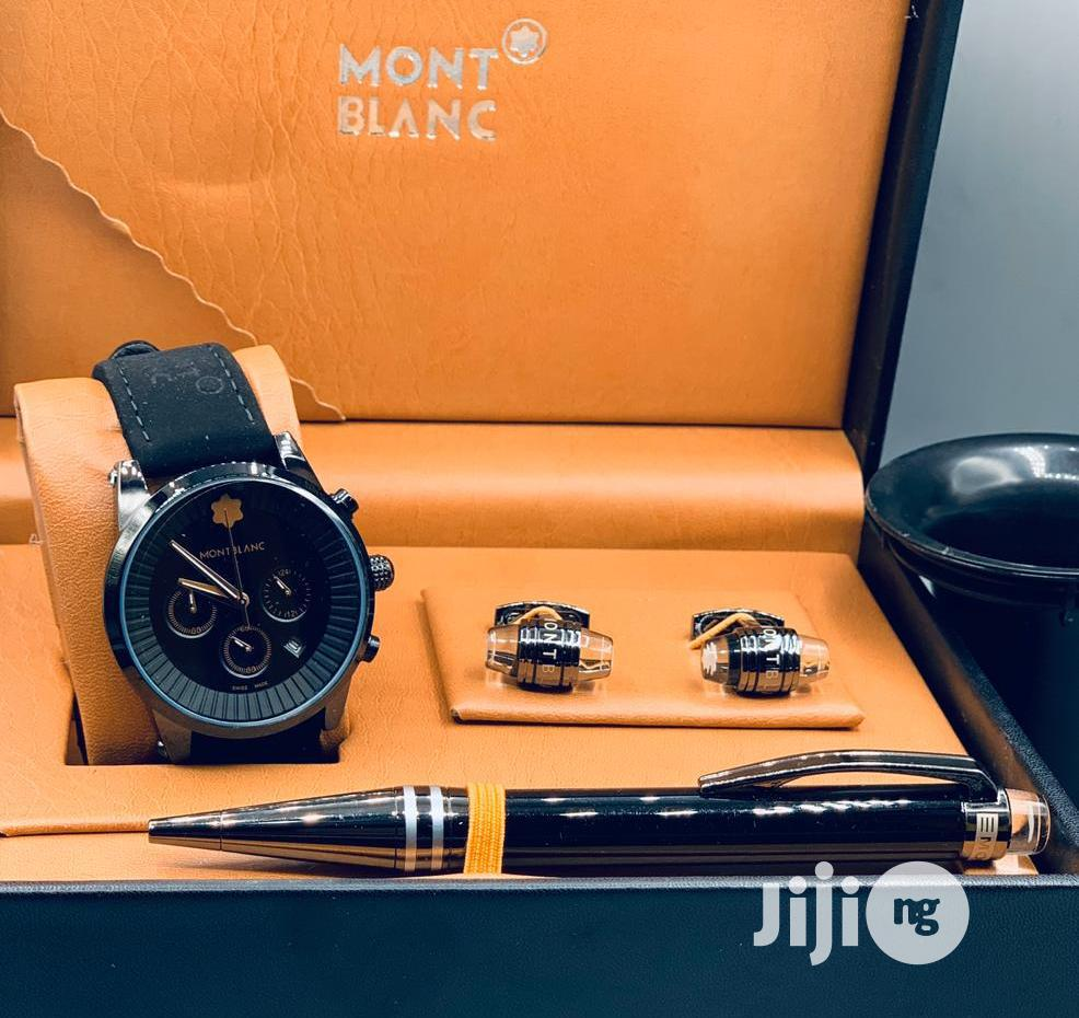 Montblanc Chronograph Black Leather Strap Watch/Pen and Cufflinks