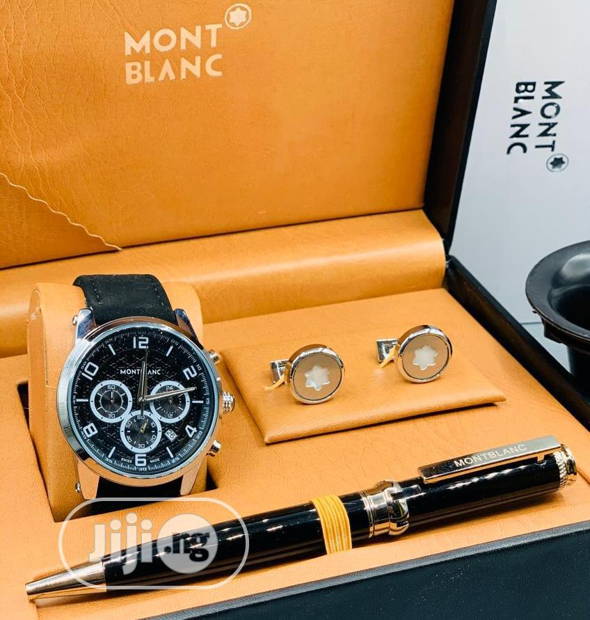 Montblanc Chronograph Silver Leather Strap Watch/Pen And Cufflinks