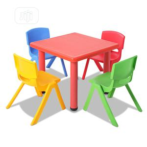 Multicoloured Kids Plastic Table and 4 Chairs   Children's Furniture for sale in Lagos State, Ikeja