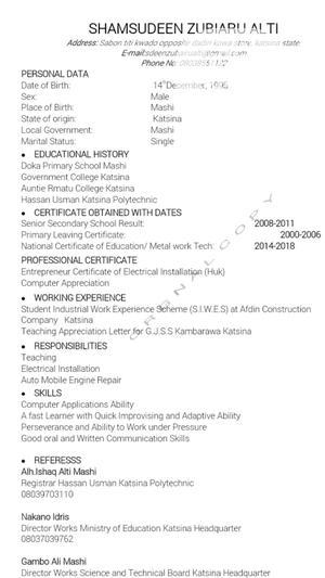 Teaching CV | Teaching CVs for sale in Katsina State, Katsina