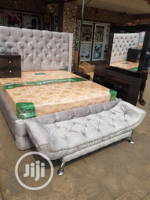 6x6 Upholstery Bedframe With Imported Orthopedic Spring Mattress | Furniture for sale in Lagos State, Ojo