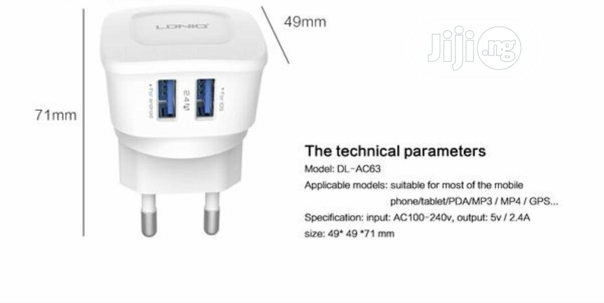 LDNIO 5V 2.4A Travel Dual 2 USB Charger | Accessories & Supplies for Electronics for sale in Ikeja, Lagos State, Nigeria