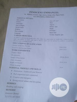 Customer Service CV   Customer Service CVs for sale in Ebonyi State, Ohaukwu