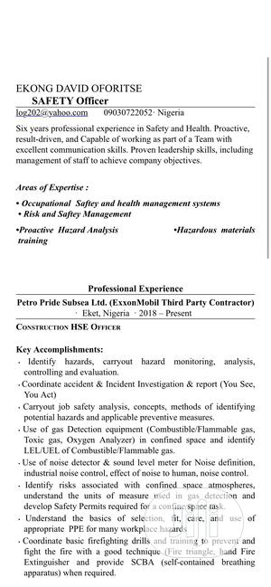 Health And Safety Officer | Construction & Skilled trade CVs for sale in Akwa Ibom State, Eket