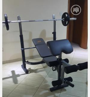Commercial Bench Press With 50 KG Barbell (With Curl Pad) | Sports Equipment for sale in Lagos State, Lekki