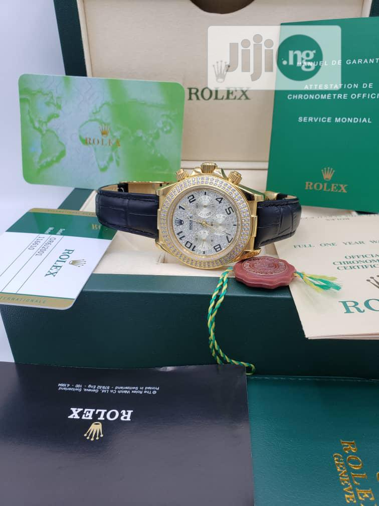 Rolex Oyster Perpetual(Daytona) Ice Head Gold Leather Strap Watch