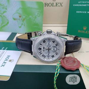 Rolex Oyster Perpetual (Daytona) Ice Head Silver Leather Strap Watch | Watches for sale in Lagos State, Lagos Island (Eko)