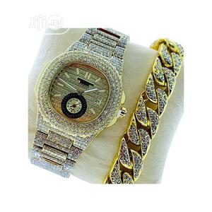Keep Moving DS Stone Iced Men's Wristwatch With Hand Chain-gold | Watches for sale in Lagos State