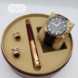 Cartier Chronograph Rose Gold Leather Strap Watch/Pen and Cufflinks | Watches for sale in Lagos State, Lagos Island (Eko)