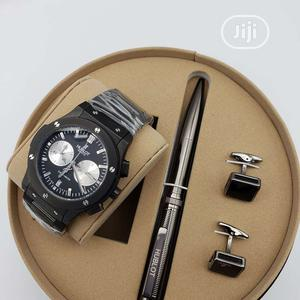 Hublot Chronograph Black Chain Watch/Pen and Cufflinks | Watches for sale in Lagos State, Lagos Island (Eko)