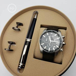 Cartier Chronograph Silver Leather Strap Watch/Pen and Cufflinks | Watches for sale in Lagos State, Lagos Island (Eko)
