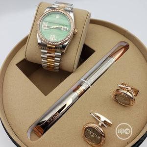 Rolex Oyster Perpetual Rose Gold/Silver Chain Watch/Pen and Cufflinks   Watches for sale in Lagos State, Lagos Island (Eko)