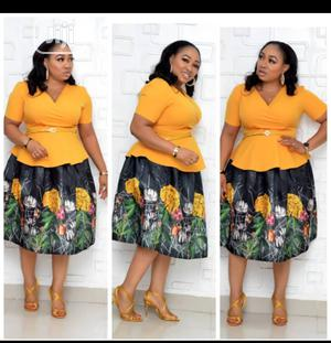 Turkey Made 2pcs Yellow Peplum Top With Silk Skirt | Clothing for sale in Lagos State