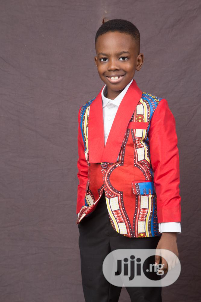 Boys Ankara Suit With Black Trousers and White Shirt