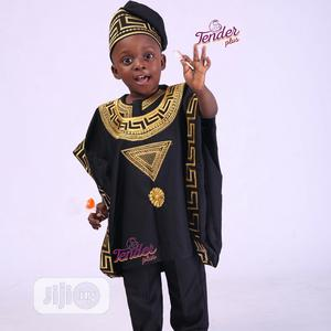 Boys Black Agbada With Gold Embroidery | Children's Clothing for sale in Lagos State, Ojodu