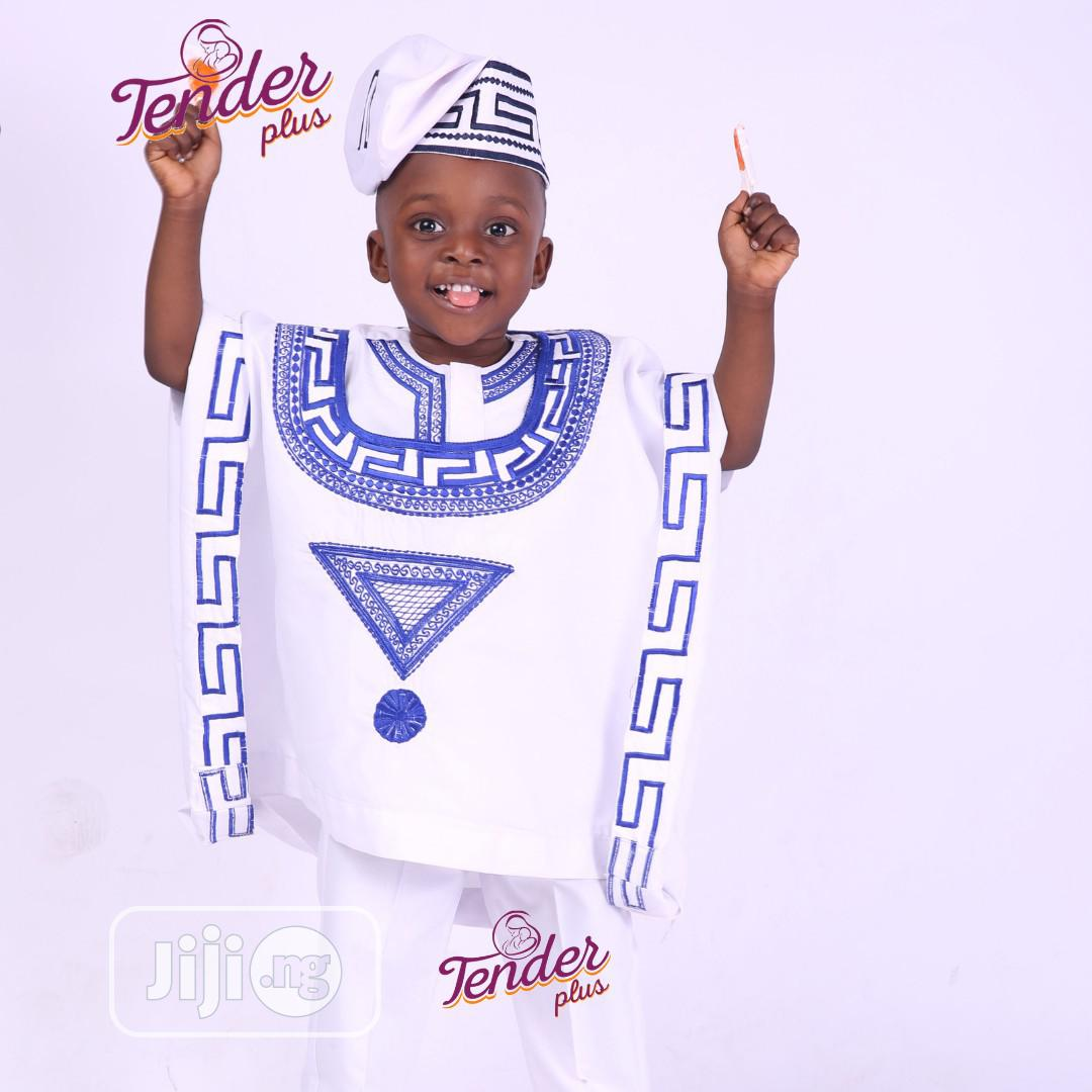 White Boys Agbada With Royal Blue Embroidery