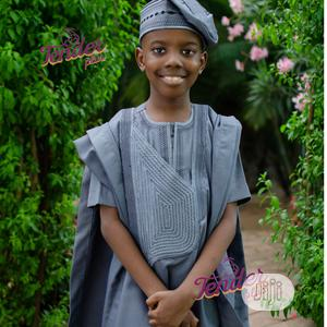 Boys Grey Agbada With Embroidery | Children's Clothing for sale in Lagos State, Ojodu