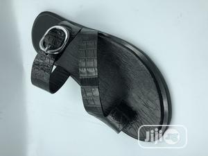Black Skin Leather Slippers | Shoes for sale in Lagos State, Mushin