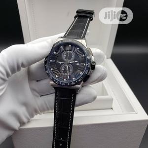 Ferragamo Chronograph Silver/Black Leather Strap Watch | Watches for sale in Lagos State, Lagos Island (Eko)