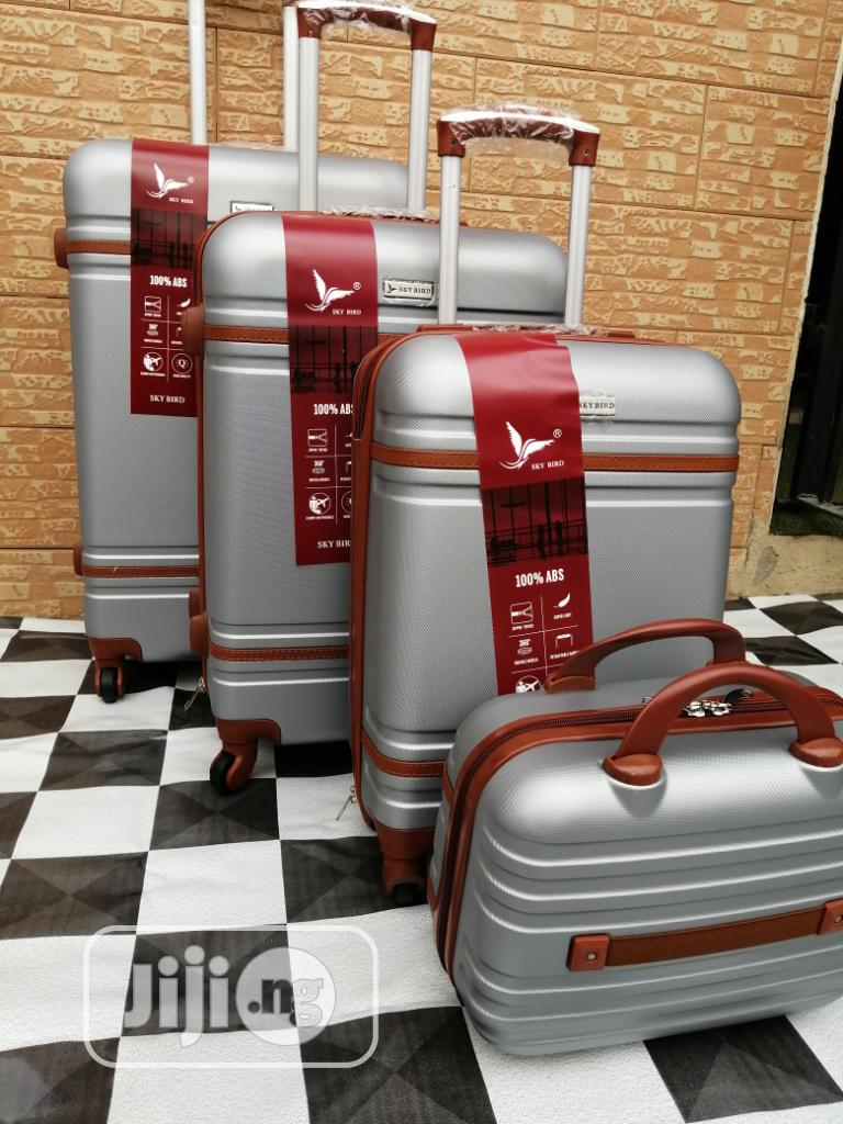 Wheeled Silver Color Traveling Luggage Bags (4 Sets) For Students