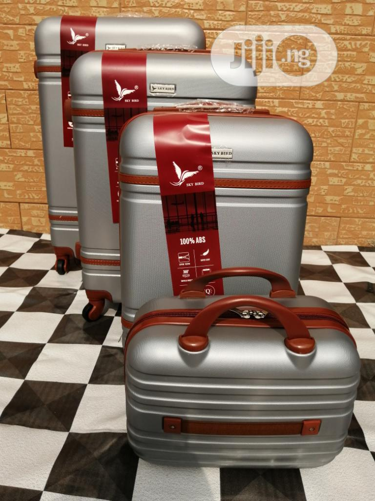 4 Wheels Cool Silver Color Trolley Luggage Bags (4 Sets)