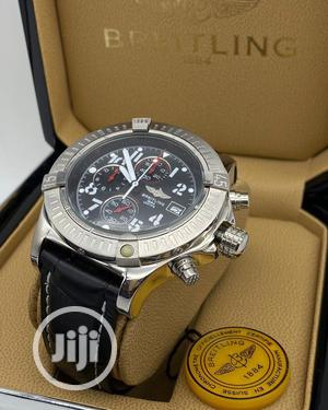 Breitling Chronograph Silver Leather Strap Watch | Watches for sale in Lagos State, Lagos Island (Eko)