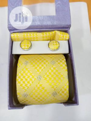 Set Of Yellow Corporate Designers Tie With Cufflinks   Clothing Accessories for sale in Lagos State, Victoria Island