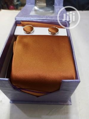 Set Of Beige Designers Corporate Tie With Cufflinks   Clothing Accessories for sale in Lagos State, Lagos Island (Eko)