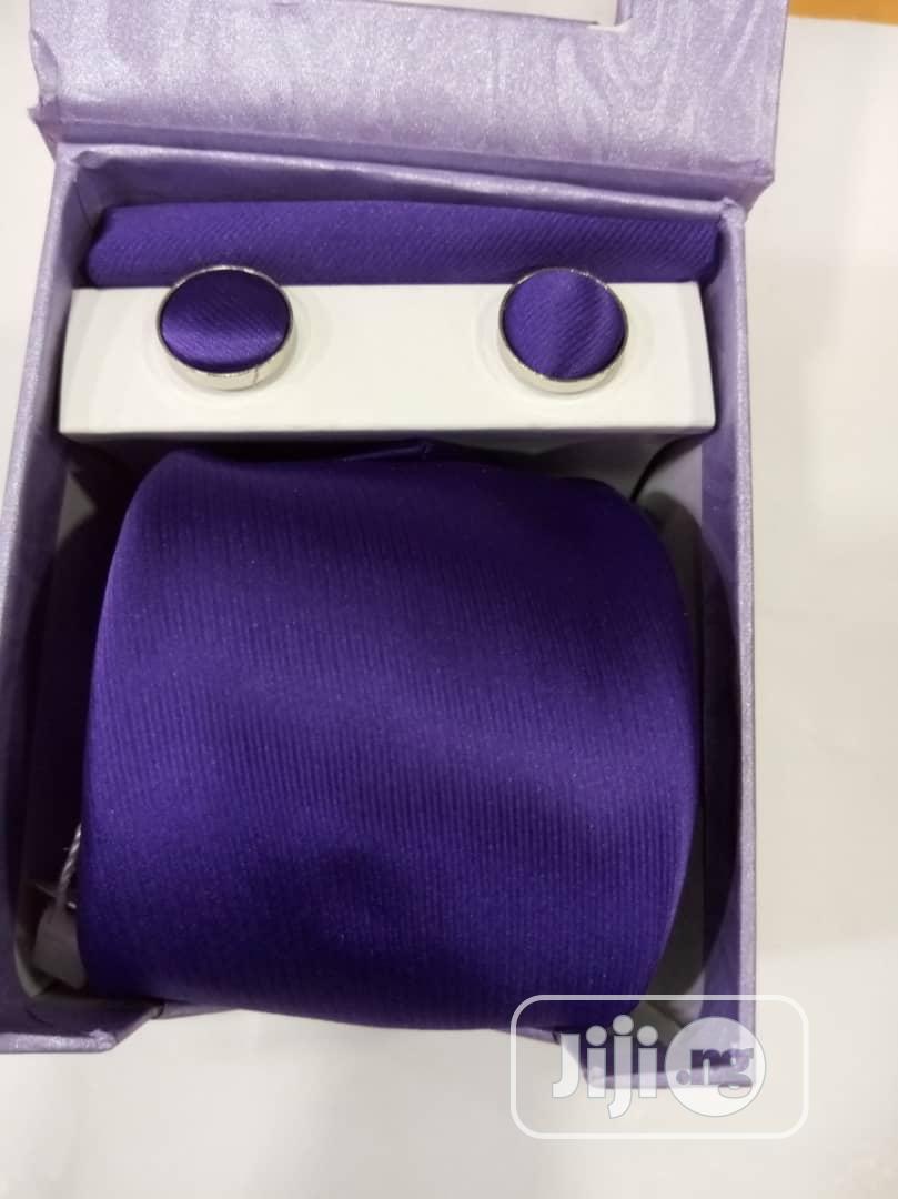 Set Of Purple Designers Corporate Tie With Cufflinks