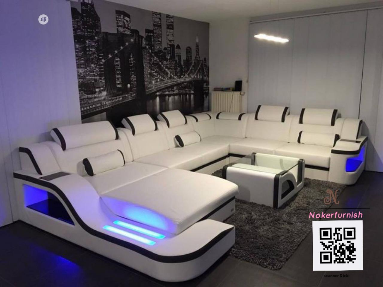 Volot (U) Shape Upholstered Sofas Chair With LED Lights