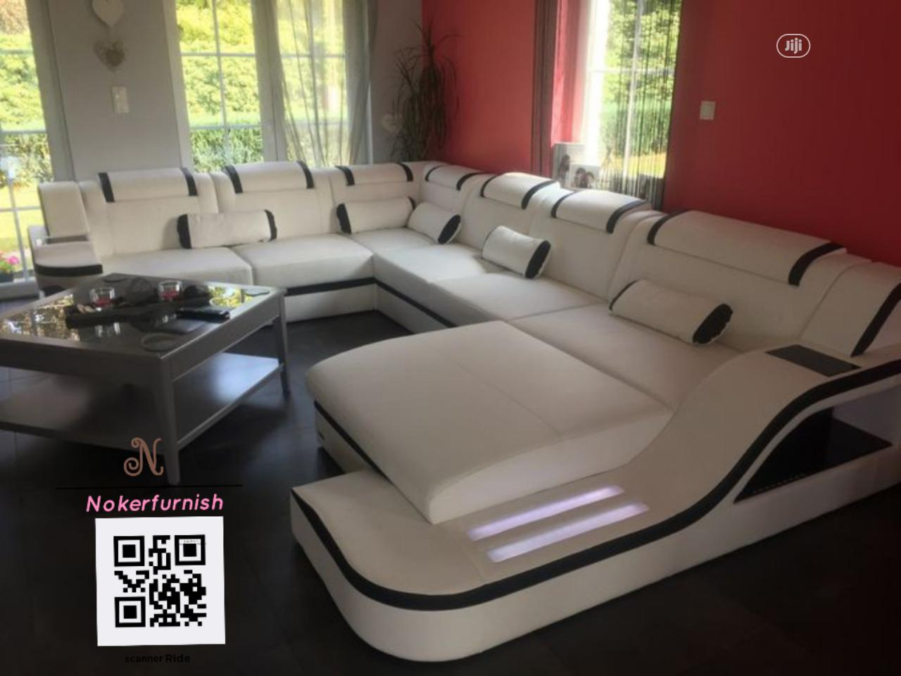 Volot (U) Shape Upholstered Sofas Chair With LED Lights   Furniture for sale in Lekki, Lagos State, Nigeria