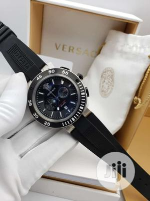 Versace Chronograph Silver/Black Rubber Strap Watch | Watches for sale in Lagos State, Lagos Island (Eko)