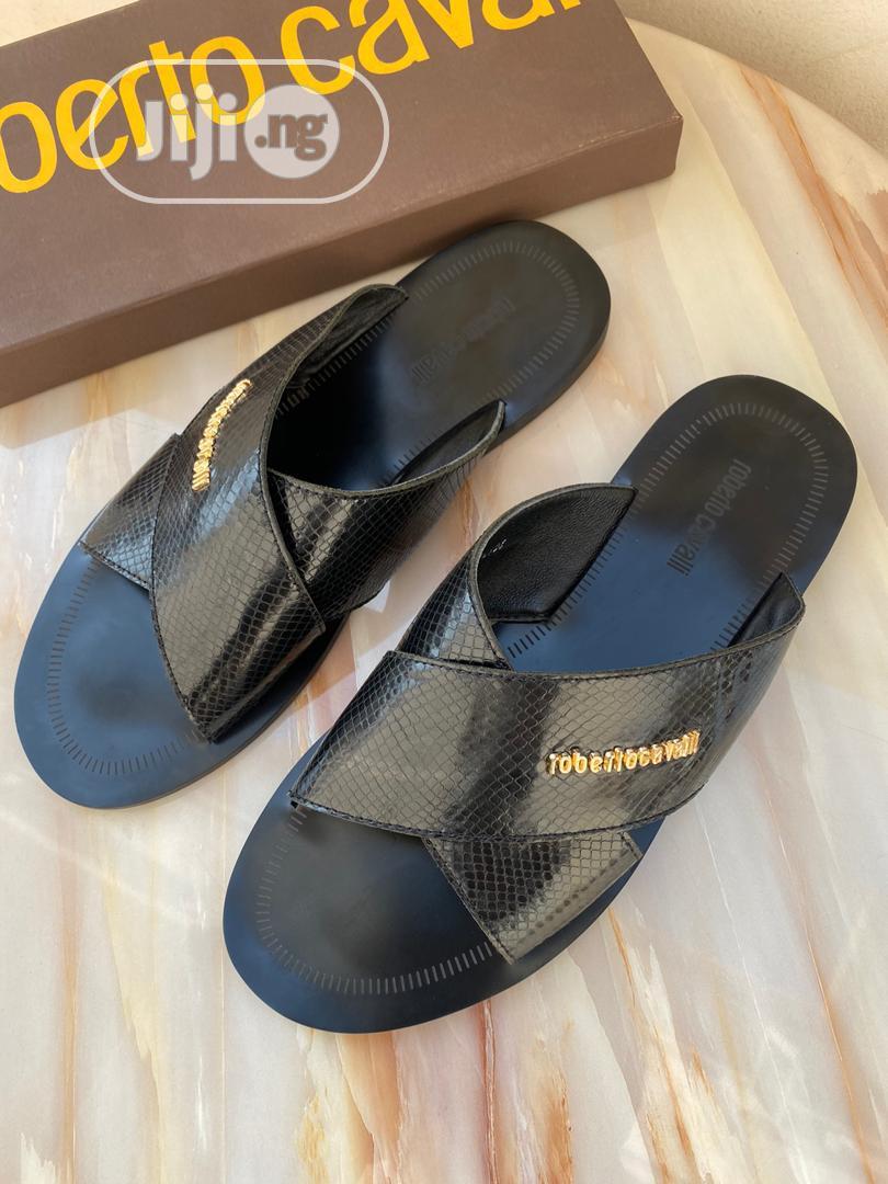 Black Leather Roberto Cavalli Palm Slipper for Men