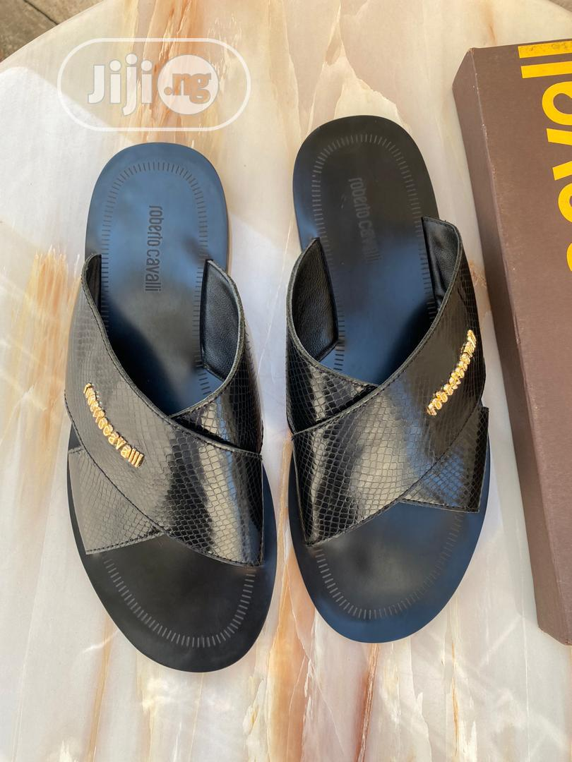 Black Leather Roberto Cavalli Palm Slipper for Men   Shoes for sale in Lagos State, Nigeria