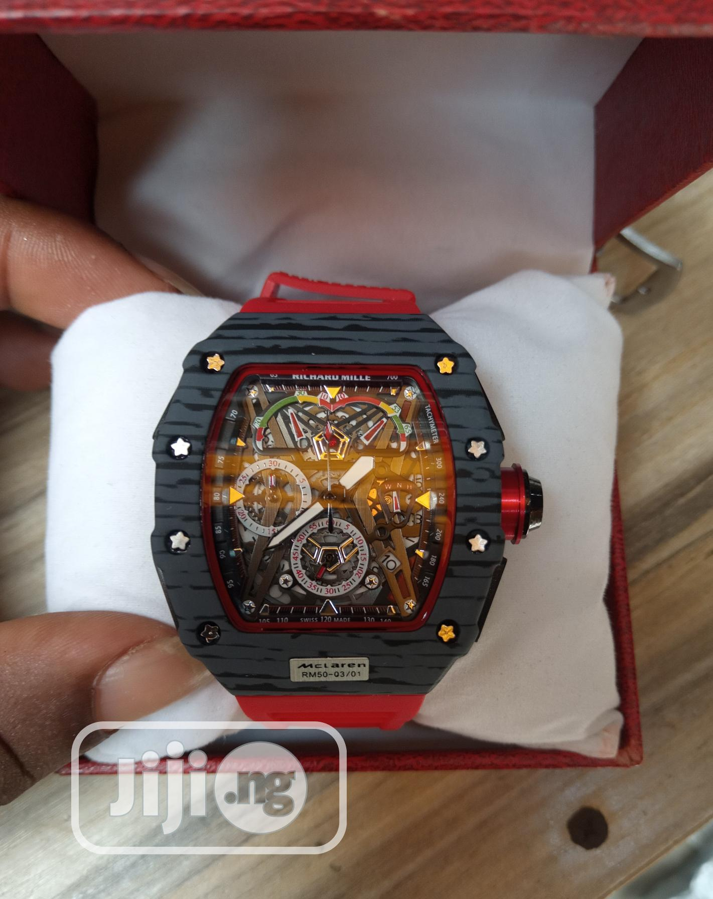 Richard Mille Men's Red Rubber Wristwatch   Watches for sale in Surulere, Lagos State, Nigeria