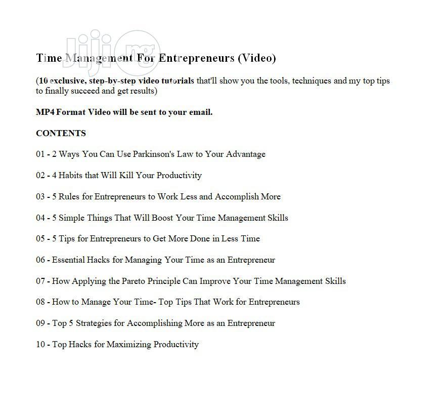 Time Management For Entrepreneurs (Video)   CDs & DVDs for sale in Ado-Odo/Ota, Ogun State, Nigeria