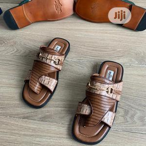 Original Leather Copper Palm Slippers for Men Available   Shoes for sale in Lagos State, Surulere
