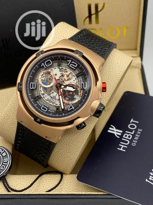 Hublot Chronograph Rose Gold Leather Strap Watch | Watches for sale in Lagos State, Lagos Island (Eko)