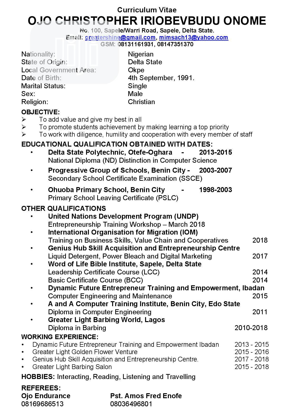 Advertising Marketing CV   Advertising & Marketing CVs for sale in Sapele, Delta State, Nigeria