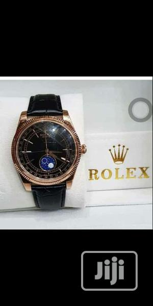 Rolex Oyster Perpetual Rose Gold Leather Strap Watch | Watches for sale in Lagos State, Lagos Island (Eko)