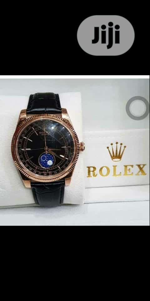 Rolex Oyster Perpetual Rose Gold Leather Strap Watch