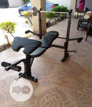 Standard Weight Bench With 50KG Dumbbells and Barbell Sets   Sports Equipment for sale in Lagos State, Victoria Island