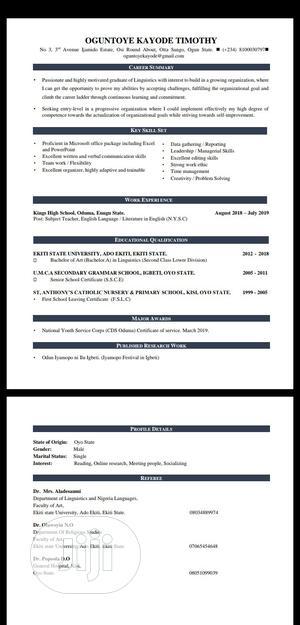Office Secretary   Office CVs for sale in Oyo State, Akinyele