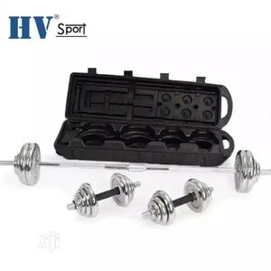 50kg Dumbbells Barbell Set Chrome Steel With Case   Sports Equipment for sale in Lagos State, Agege
