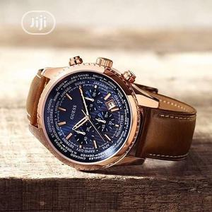 Guess Chronograph Rose Gold Leather Strap Watch | Watches for sale in Lagos State, Lagos Island (Eko)